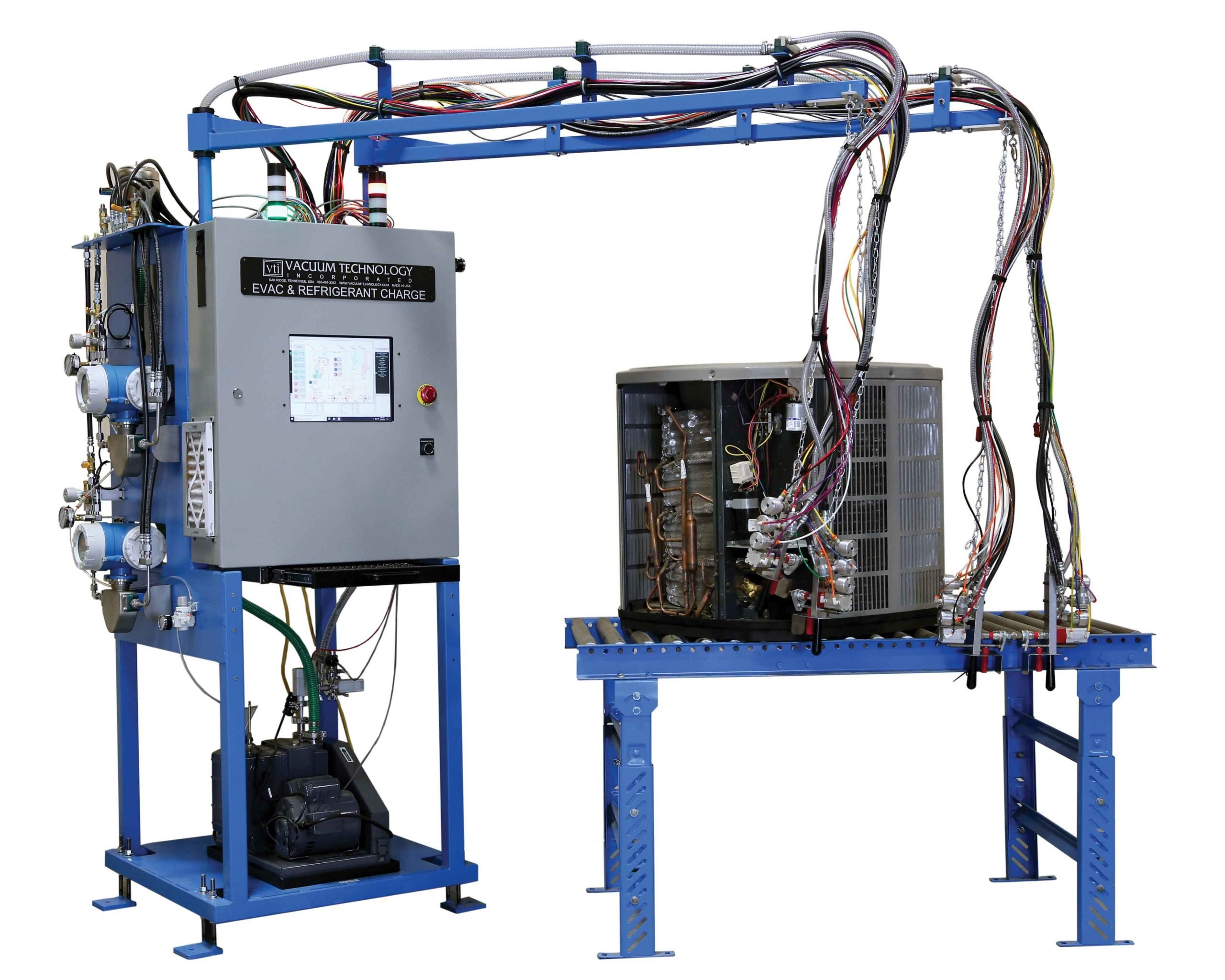VTI's Evacuation and Dual Refrigerant Charge Station for Condensing Unit and Heat Pump Manufacturing