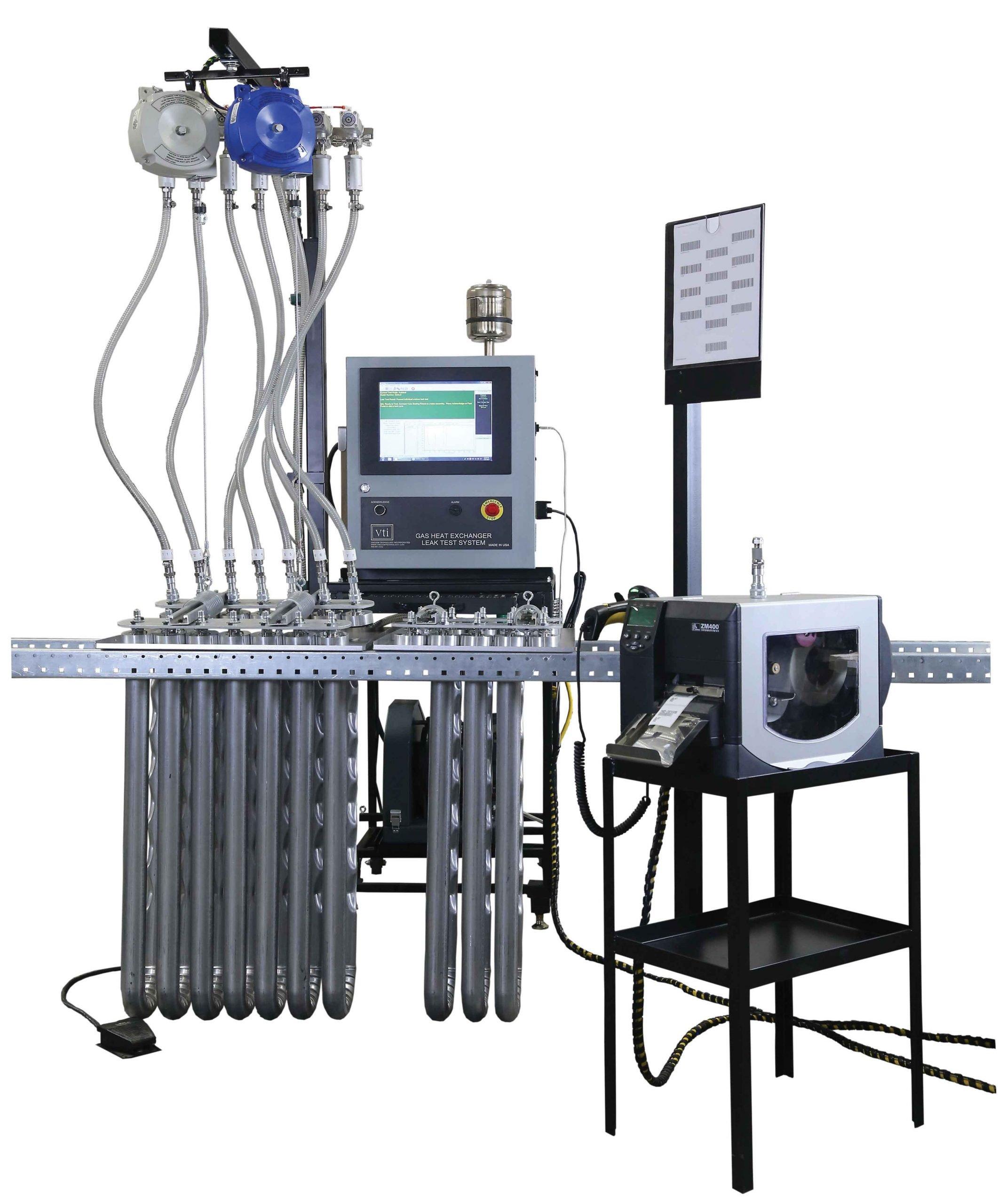 VTI's Gas Heat Exchanger Leak Test System for Heat Exchanger Manufacturing