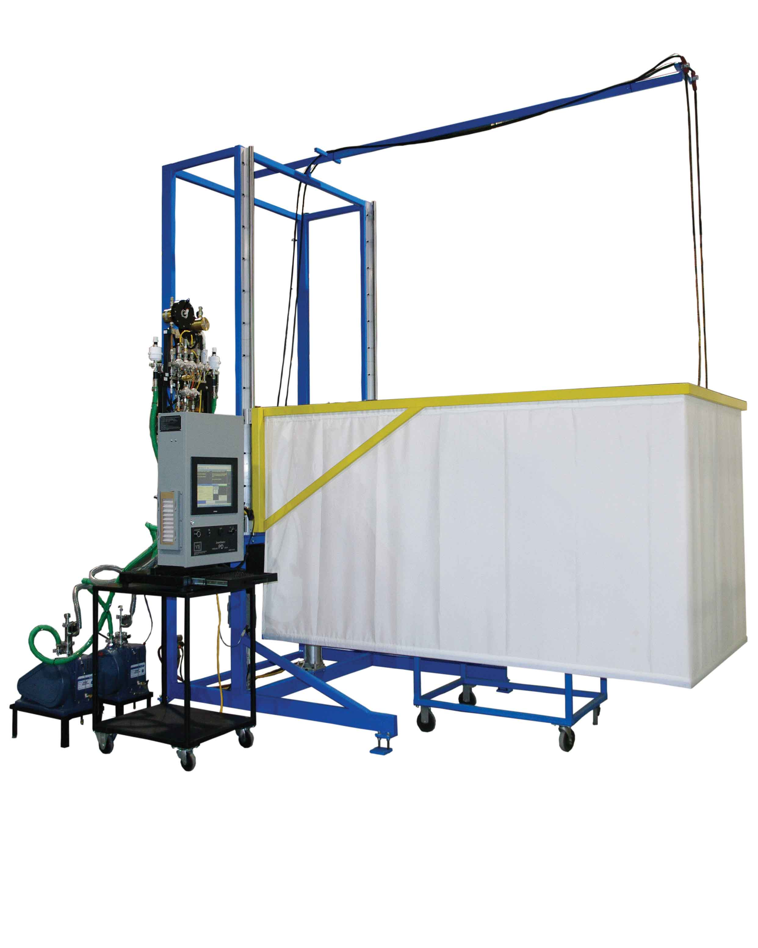 VTI's Pressure Decay & Tracer Gas Charge with Ballistic Safety Curtain for Slab Coil Manufacturing