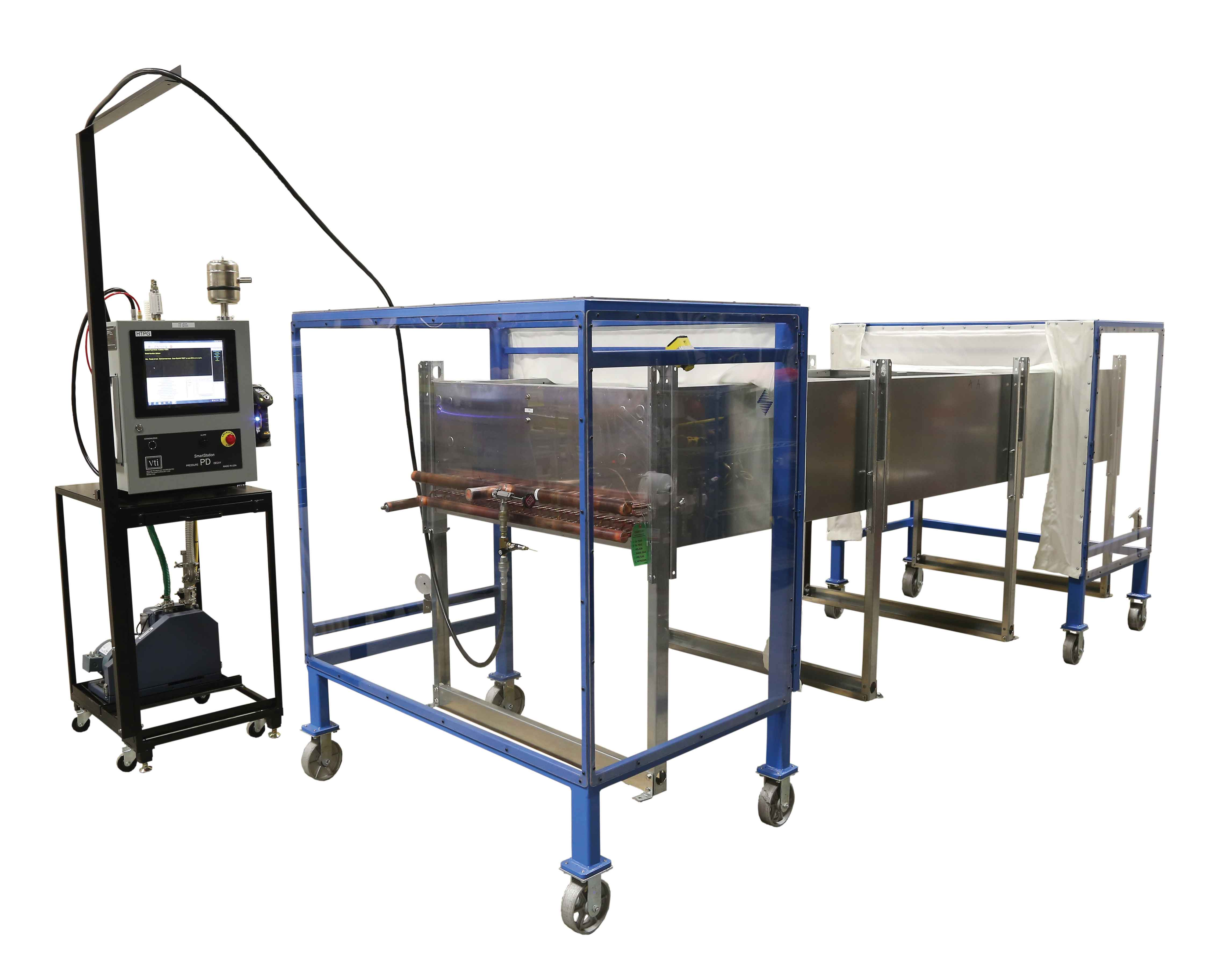 VTI Rollaway Lexan Ballistic Curtain Assembly Pressure Decay Station for Fluid Cooler Manufacturing