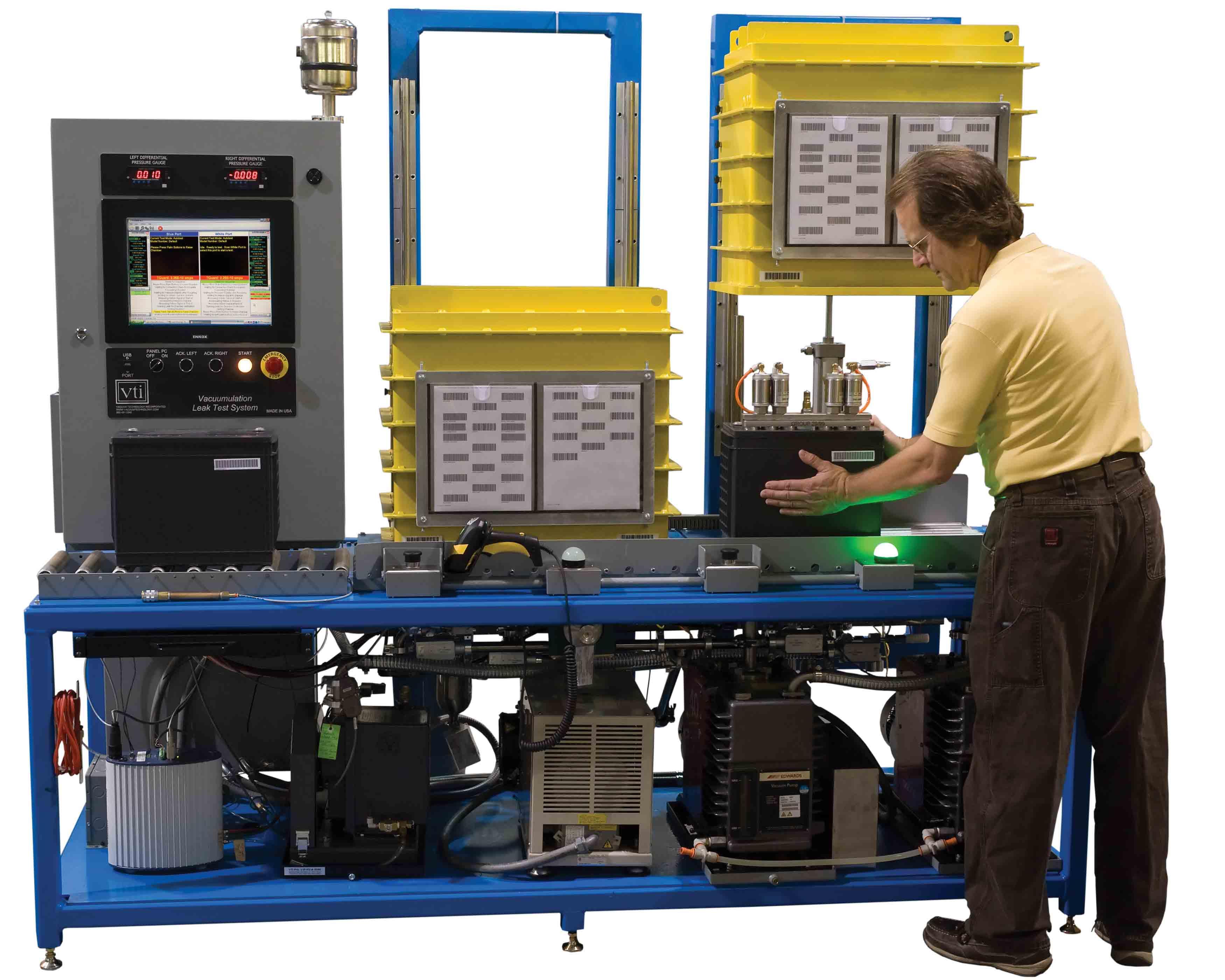 VTI's 12 Volt Battery with VTI Vacuumulation Helium Leak Test System
