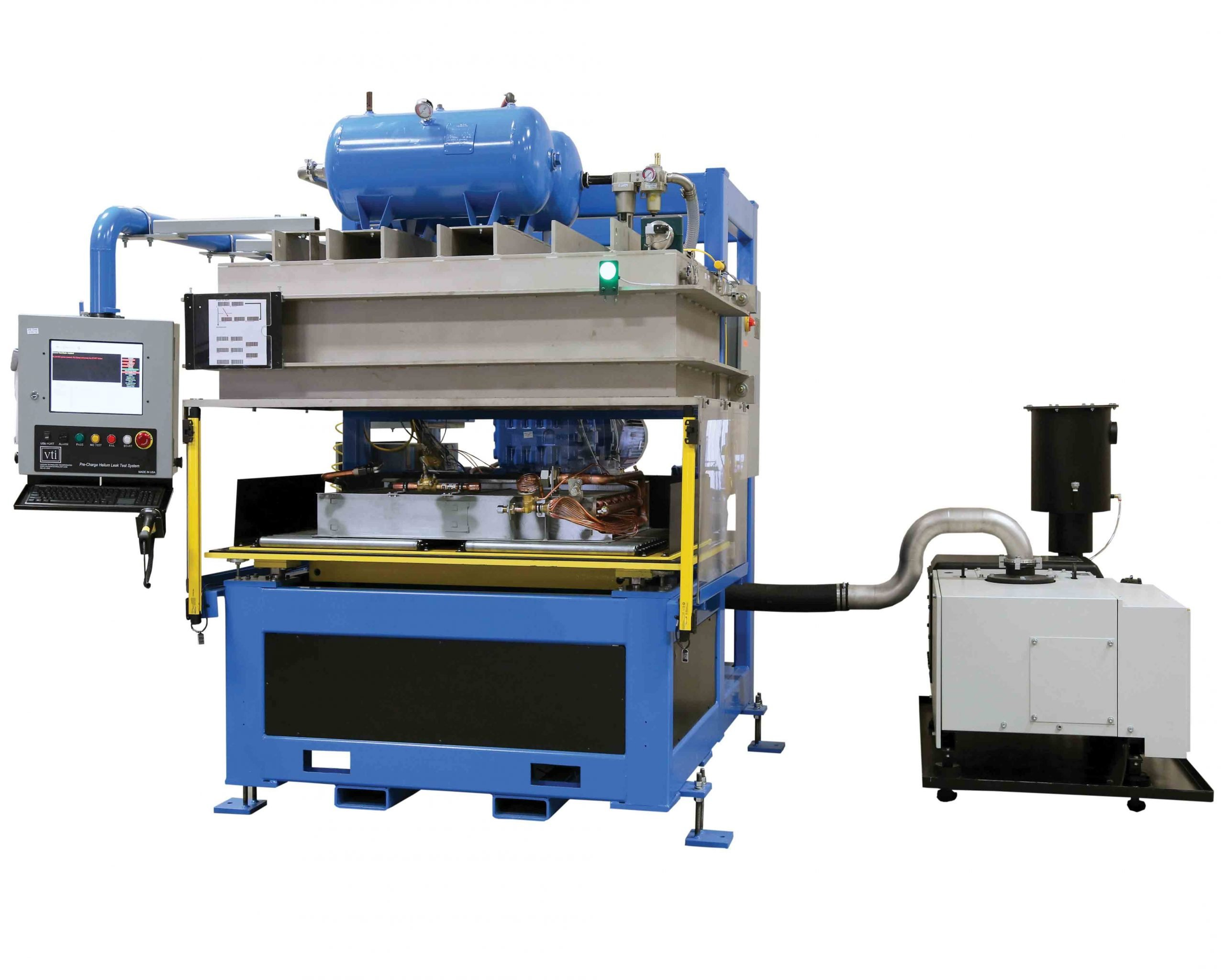 VTI's Cantilevered Bottom-Up Pre-Charged Helium Leak Test System for Medium Size Slab Coils