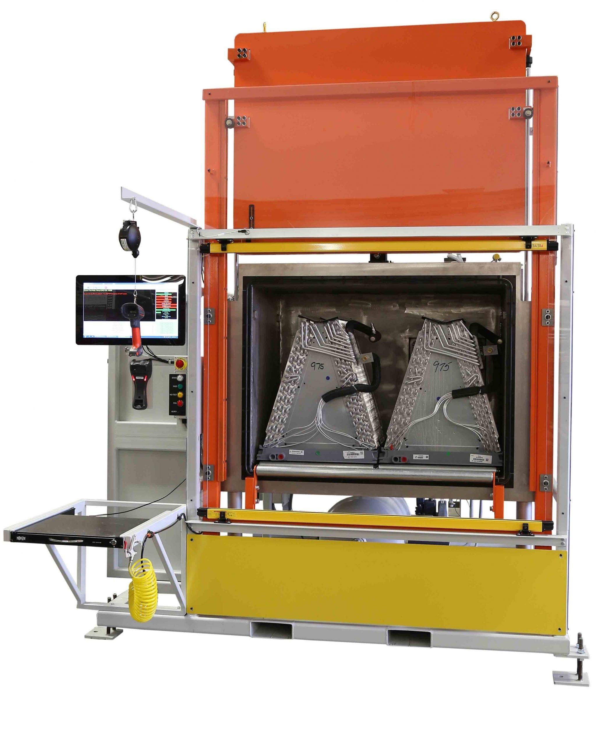 VTI's HounDog Refrigerant Leak Test Station for A-Coil Manufacturing