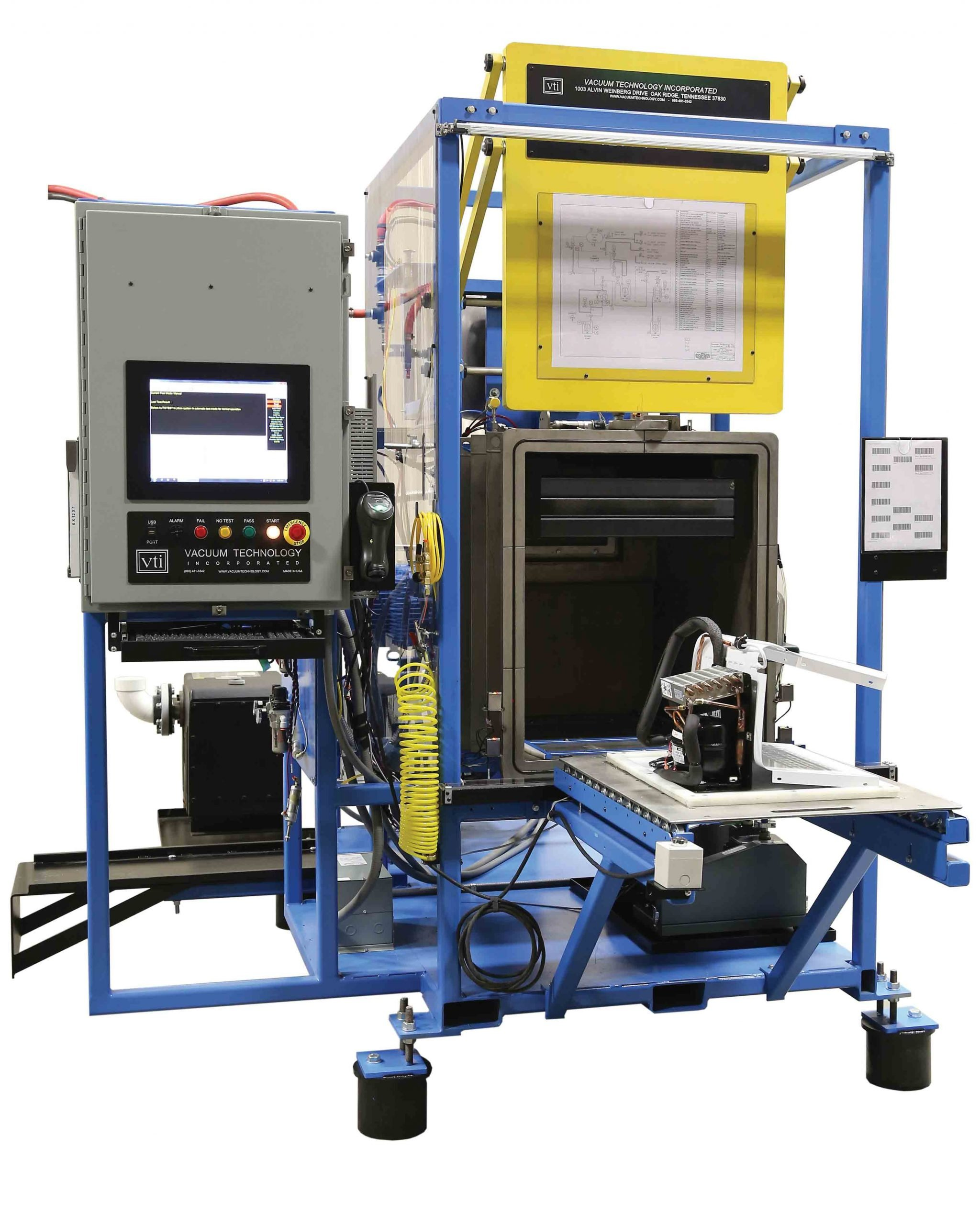 VTI's Small Condensing Unit Pre-Charged Helium Leak Test System for COndensing Unit Manufacturing