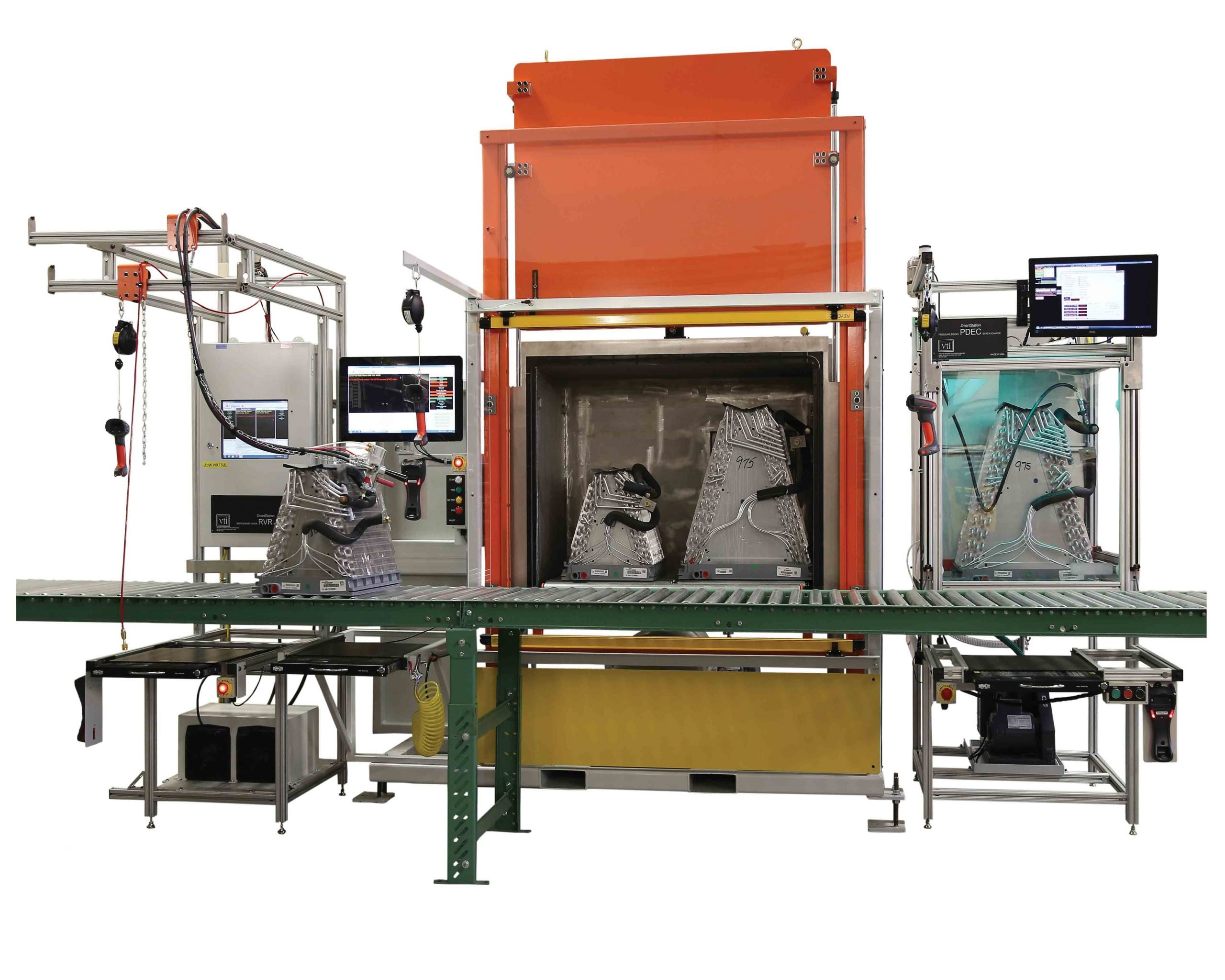 VTI's Typical Residential Indoor Coil Leak Test Equipment for A-Coil Manufacturing