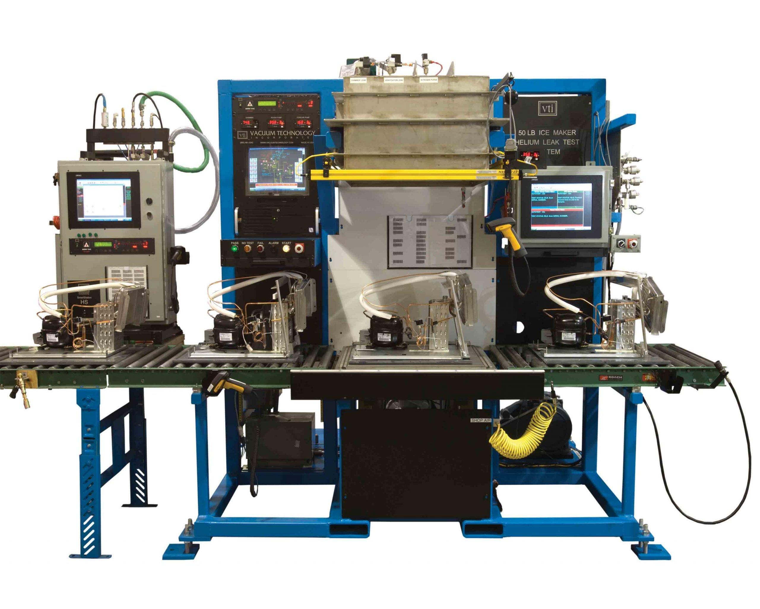 VTI's Under-Counter Sealed Ice Maker Helium Leak Test System for Under-Counter Sealed Ice Maker
