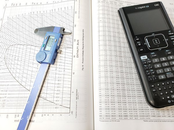 Calculator and Caliper Sitting on Top Pressure - Enthalpy Chart