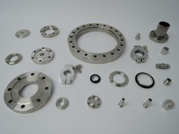 A display of high-quality vacuum components, each of which is available for sale at Vacuum Technology Incorporated