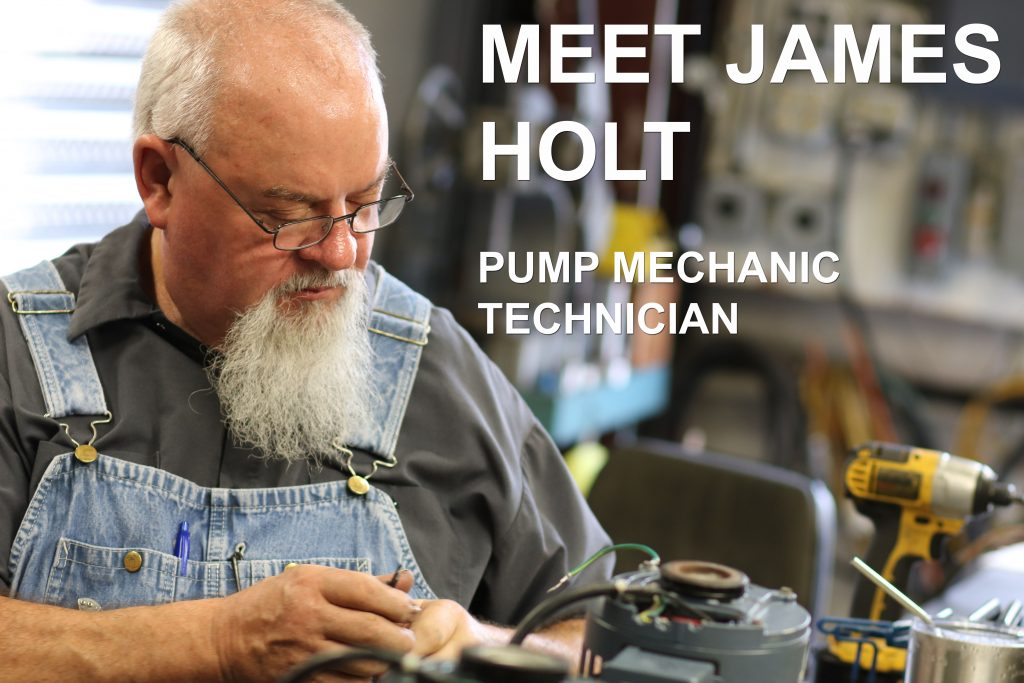 James Holt repairs a Welch vacuum pump at Vacuum Technology Incorporated